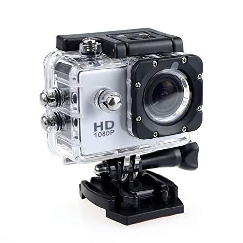 SXFJF Action Camera, HD 1080P Macchina Fotografica di Azione della Macchina Fotografica Impermeabile con 2.0' Schermo Underwater Cam 30M Impermeabile, per Il Live Streaming di Stabilizzazione,Bianca