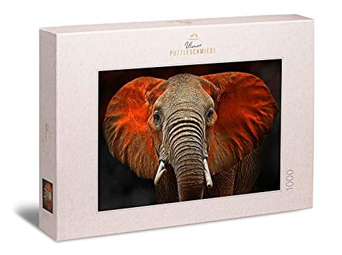 Ulmer Puzzleschmiede - Puzzle 'Elefante dello Tsavo' - Ritratto animale di elefante africano nel parco nazionale Tsavo in Kenya