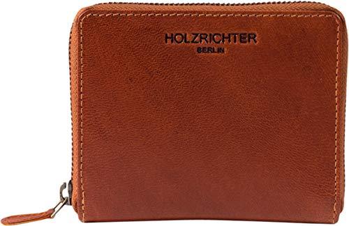 HOLZRICHTER Berlin Geldbörse No 8-1 (M) Cognac - Minimalistisches Vintage Portemonnaie handgefertigt aus Premium-Leder