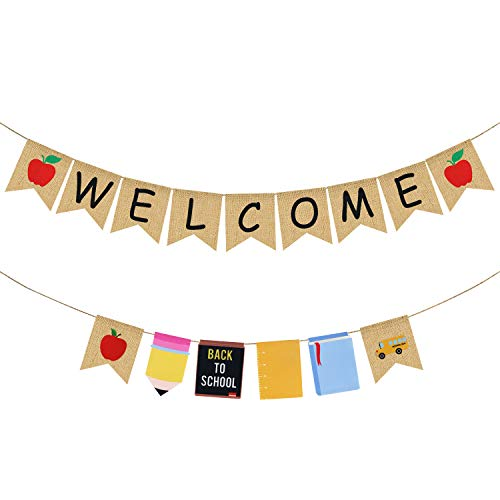 Welcome Burlap Banner & Back to School Garland - Back to School Decorations - Back to School Banner - First Day of School Banner- Back to School Decor for Classroom - Teacher Office Hanging Decor