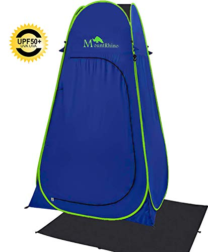 MountRhino 6.9ft Pop Up Changing Shower Tent,UV Protection Privacy Tent Shelter,Portable Shower Toilet Bathroom for Camping Beach Dressing Cabana with rainfly and Ground Sheet (Blue)