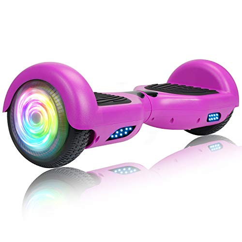 SISIGAD Hoverboard Self Balancing Scooter 6.5' Two-Wheel Self Balancing Hoverboard with LED Lights Electric Scooter for Adult Kids Gift UL 2272 Certified - Purple