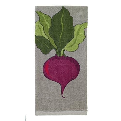 All-Clad Textiles 100-percent Cotton Fiber Reactive Beet Print Kitchen Towel, 17-inch x 30-inch, Titanium Grey