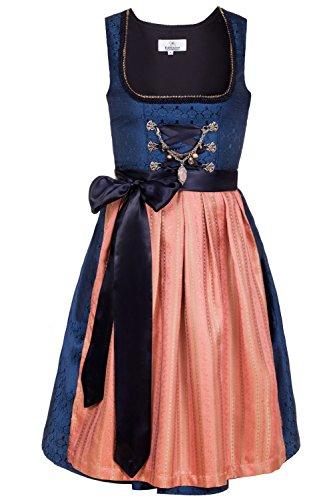 Edelnice Trachtenmode Bayerisches Damen Designer Mini Dirndl Josepha Kleid 2-teilig + Schürze Gr. US2-, 44 Königsblau