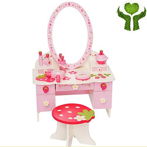 Meisje make-up speelgoed Kleine Prinses Simulatie Mini-dressoir Kinderen Make-up Speelhuis Speelgoedset Handgedrukt Patroon Cadeau Voor Klein Meisje ( Color : Pink , Size : 60*43*22cm+21*19*16.5cm )