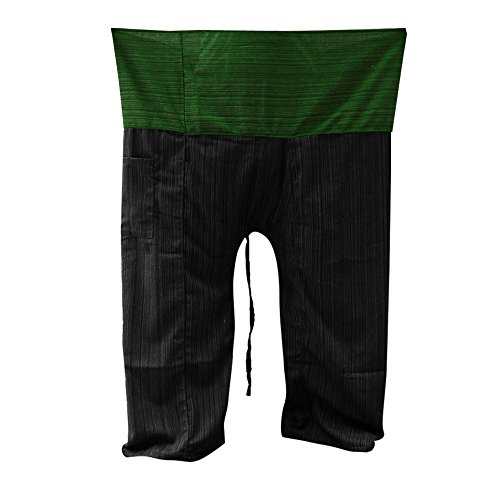 Kittiya 2 Tone Fisherman Pants Thai Yoga Plus Size Cotton Free with Cotton Stripes [Green-Back]