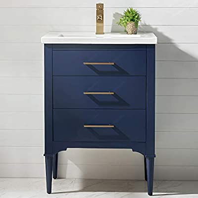 """LUCA Kitchen & Bath LC24DBP Austin 24"""" Bathroom Vanity Set in Midnight Blue Made with Hardwood and Integrated Porcelain Top"""