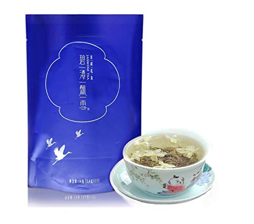 2021(FRESH) Spring ZhuYeQing(BiTan PiaoXue)碧潭飘雪 China's famous jasmine tea (15 Bags)