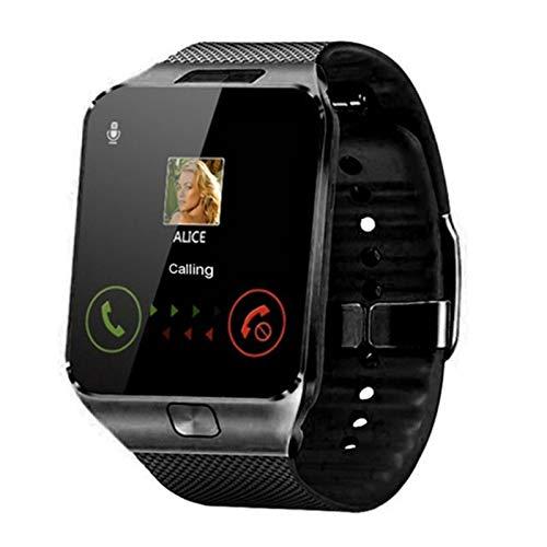 Soporte De Reloj Inteligente TF SIM Cámara Hombres Mujeres Deporte Bluetooth Wristwatch para Samsung Huawei Xiaomi Android Teléfono (Color : Black)