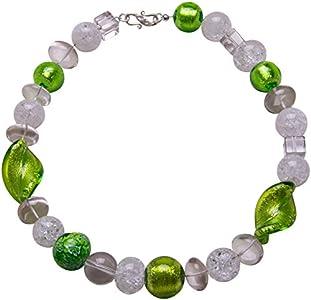 Collar de cristal de roca de Murano, collar de plata con piedras preciosas, hecho a mano, color verde
