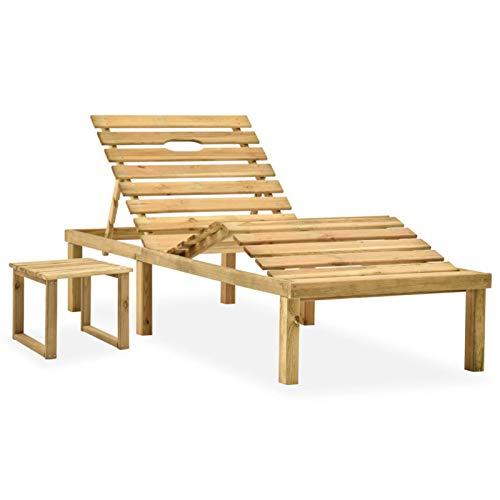 Festnight Gartenliege Holz Garten-Sonnenliege mit Tisch Sonnenliegen Set Relaxliege Holzliege Garten Saunaliege Holz Liegestuhl für Garten Terrasse Kiefernholz Imprägniert