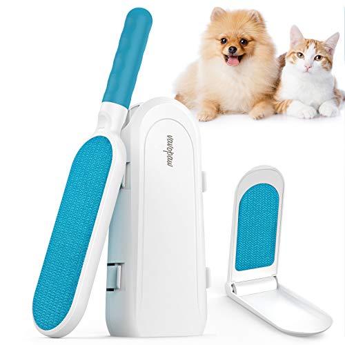 VavoPaw Cepillo de Depilación de Mascotas, Eliminador de Pelo de Gatos Perros Portátil Reutilizable con Doble Cara Aseo de Pelusa Rodillo de Limpieza para Ropa Mueble Coche, Blanco & Azul