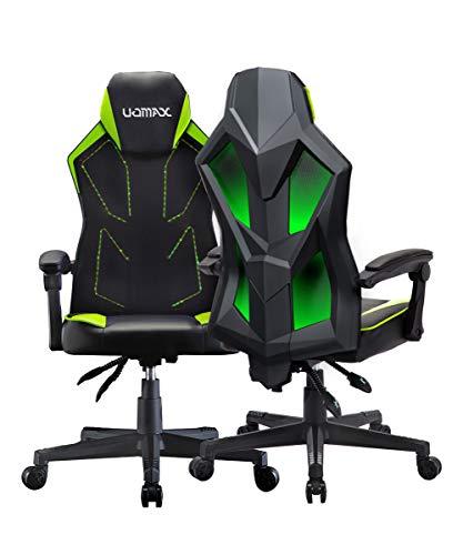 UOMAX Sedia Gaming con luci a LED, Ampio Sedile Piatto Poltrona Gaming, Poltrona Gaming ergonomica con Supporto Lombare, Parte Posteriore in Tessuto Mesh reclinabile Sedia Gamer(Verde)