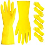 [6 Pairs] Dishwashing Gloves - 11.5 Inches Medium Rubber Gloves, Yellow Flock Lined Heavy Duty Kitchen Gloves, Long Dish Gloves for Household Cleaning, Gardening, Utility Work Hand Protection