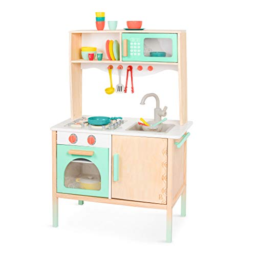 B. Toys by Battat BX2155C1Z Mini Chef Kitchenette-Wooden Kitchen-Pretend Imaginative Play for Kids 2 Years + (33 Pieces)