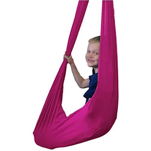 ZHL Columpio de terapia infantil para colgar en interiores y exteriores, hamaca elástica hasta 200 kg para niños integración sensorial (color: rojo rosa, tamaño: 100 x 280 cm)