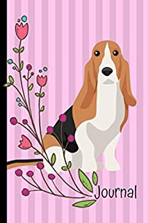Journal: Anxiety Journal and Coloring Book 6x9 90 Pages Positive Affirmations Mandala Coloring Book Basset Hound Dog Pink Cover
