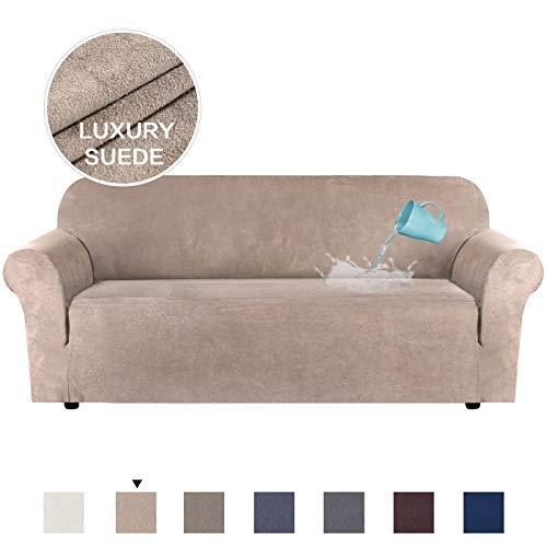 H.Versailtex Sofabezug aus Samt für 1/2/3-Sitzer, wasserabweisend, Wildleder, mehrere Farben, Leder und Wildleder, sand, 3 Seater:173-245cm