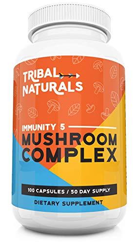 Organic Mushroom Supplements (100ct) Immunity 5 Mushrooms Wellness Formula - Reishi, Shiitake, Turkey Tail, Maitake & Chaga Mushroom Extract 1000mg/cap Mushroom Immune Defense & Energy Pills