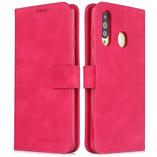 Capa para celular Samsung M30,[capa de couro TPU de alta qualidade] [carteira] [capa para celular com fivela magnética],vermelho