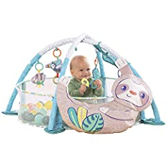 TAKE WITH YOU FEATURES: This gym includes 5 linkable toys including a teether that can be re-positioned on the gym or linked to strollers & car seats for on-the-go entertainment. Toys include different colors, shapes and crinkles to help baby's cogni...