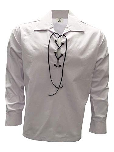 Herren-Schnürhemd schottisches Ghillie-Hemd Gr. X-Large, weiß
