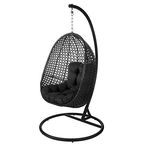 Tousmesmeubles Chaise Suspendue Acier/Rotin Noir - AVATORU n°2 - L 102 x l 102 x H 190 - Neuf