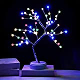 PXB LED Bonsai Tree Lamp with 60 LED Plum Blossom Copper Wire String Lights, DIY Artificial Tree Lights, Battery/USB Operated, for Bedroom Desktop Christmas Party Indoor Decoration Lights (Colorful)