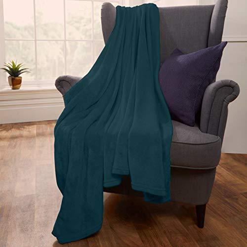Brentfords Große superweiche Flanell-Fleecedecke, Überwurf, flauschig, warm, für Bett, Couch, Blaugrün – 200 x 200 cm