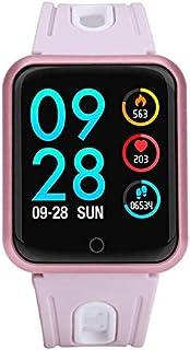 Reloj inteligente a prueba de agua Rastreador de sangre deportivo Monitor de ritmo cardíaco Relojes inteligentes Pantalla a color del reloj, Monitor de sueño con contador IP68 para Android e IOS Rosa