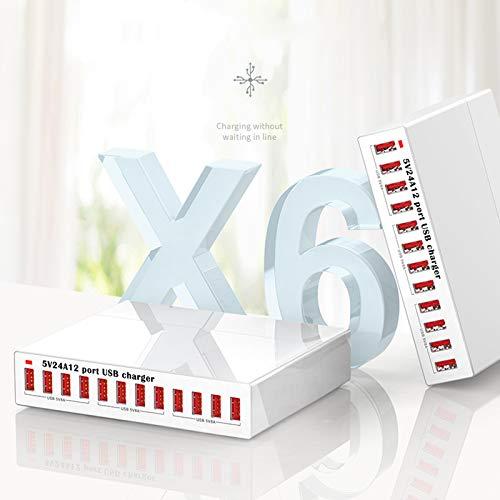 QIANGU Cargador USB, Fuente de alimentación de la estación del Cargador USB 12 Puertos 5V 2.4A para teléfono móvil, Tableta, teléfono Inteligente