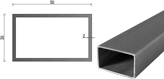Sección de caja de tubo rectangular de aluminio largo 2000 mm 2500 mm 5000 mm