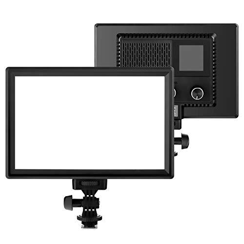 OJelay Professionelles Ultra-dünn LED Lichtpaneel für Kamera,116 Lampen Dimmbare 3200k-5600k Farbtemperatur CRI95+ Videoleuchte mit LCD Anzeigebildschirm für digitalen DSLR-Kameras und Camcorde