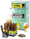 Kit de Brassage Débutant Complet, Je Brasse et j'embouteille 4 litres de bière - Idée Cadeau 100% découverte - Je Brasse à la Maison - Idée Cadeau (Bière Blonde)