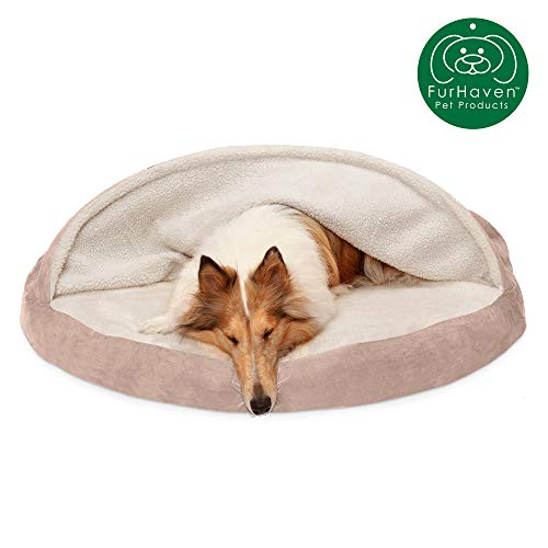 Furhaven Pet Dog Bed | Orthopedic Round Cuddle Nest Faux Sheepskin Snuggery Blanket Burrow Pet Bed w/ Removable Cover for Dogs & Cats, Cream, 44-Inch