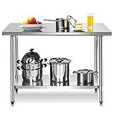 DREAMADE Arbeitstisch Edelstahl für Lebensmittelzubereitung, Küchentisch mit Aufkantung, Edelstahltisch, 2 Arbeitsplatte, ideal für Küche, Restaurant, Silber (Modell 1)