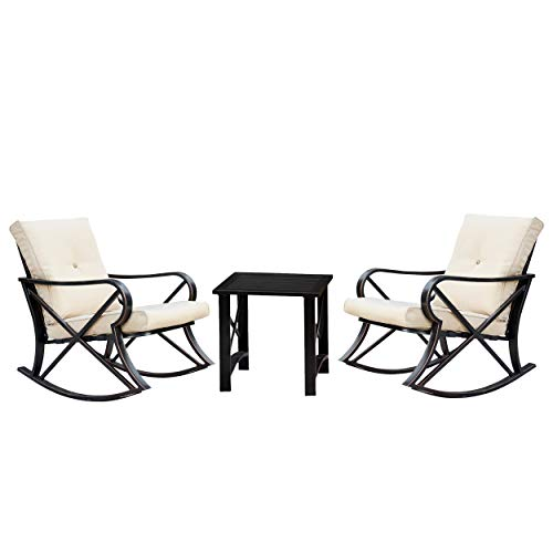LOKATSE HOME 3 Piece Patio Outdoor Rocking Chair Bistro Sets with Coffee Table Khaki