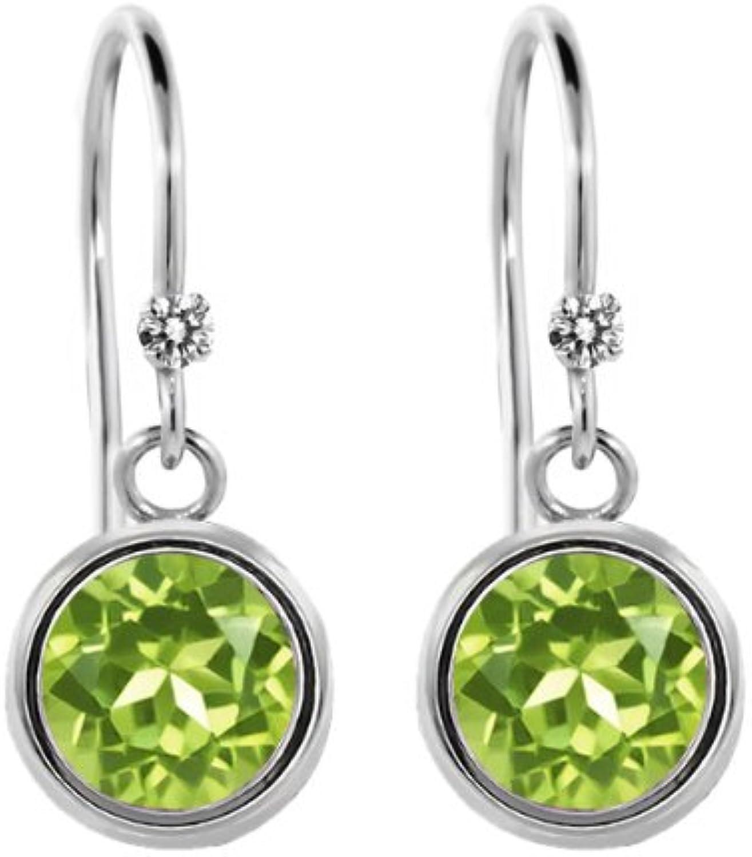 1.82 Ct Round Green Peridot White Diamond 925 Sterling Silver Earrings