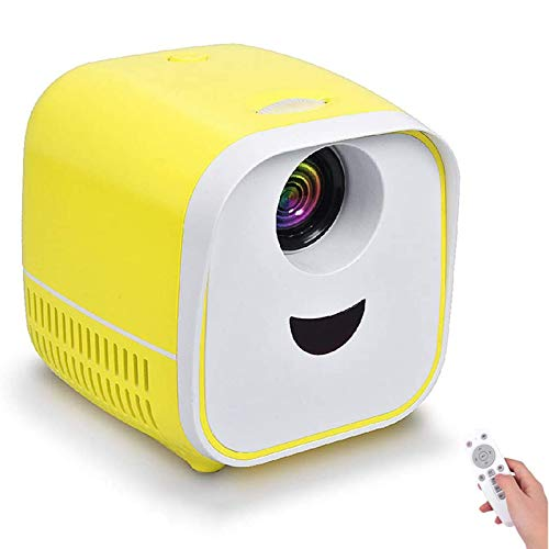 XIYAN Portable Cartoon Projector, Children's Mini Micro Projector Support 1080P HD Playback 1000 Lumens Built-In Speakers To Spend Happy Time with Children,Yellow