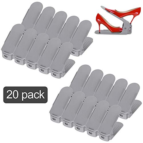 wolketon 20pcs Organizadores de Zapatos Ajustables, Durable Gris Soportes de Calzado con Ranuras Ahorro de Espacio para Tacones Altos Zapatos Planos