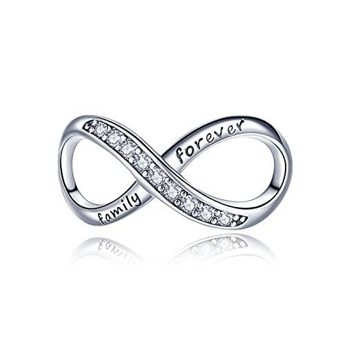 LaMenars Love Mom Family Tree Infinity Heart ciondoli per braccialetti, perline multicolori in argento sterling 925, adatti a collane con bracciale, regali di compleanno per donne (B-infinito amore)