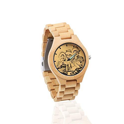 Reloj de Fotos de Bricolaje Reloj de Texto Personalizado Reloj de Correa marrón Reloj de Madera de bambú(marrón Hombres-45mm)