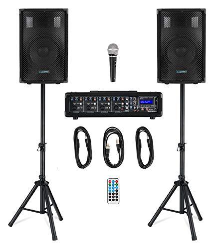 """McGrey BP-210 Bandpack PA-Anlage - 4-Kanal Powermixer - digitaler Hall - Bluetooth - USB/SD-Slot - 2-Wege-Lautsprecher mit 10\"""" Woofer und Horn - Inklusive Mikrofon, Stative und Kabel - 100 Watt"""