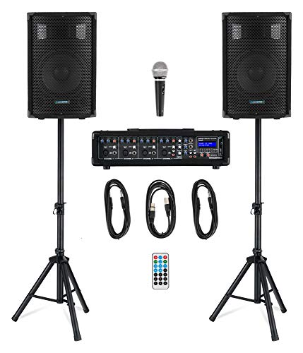 McGrey BP-210 Bandpack PA-Anlage - 4-Kanal Powermixer - digitaler Hall - Bluetooth - USB/SD-Slot - 2-Wege-Lautsprecher mit 10