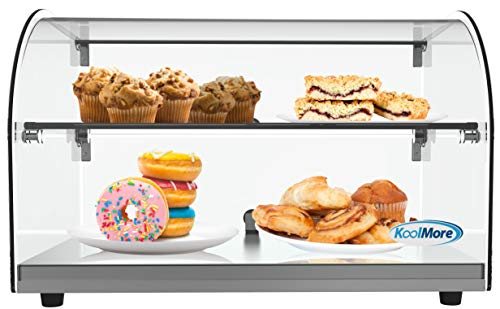 """KoolMore - DC-2C 22"""" Commercial Countertop Bakery Display Case with Front Curved Glass and Rear Door - 1.5 cu. ft."""