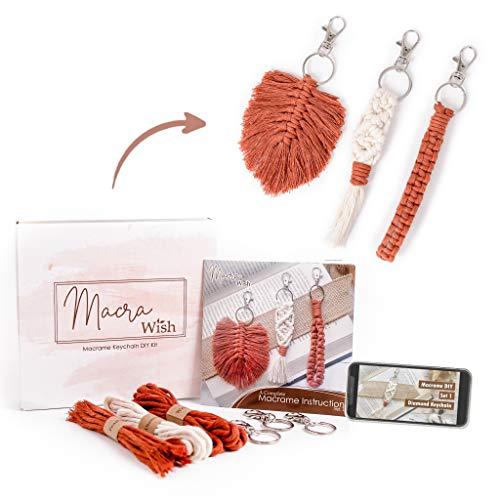 MacraWish Macrame Kits for Adults Beginners : Macrame Keychain DIY Kits Include...