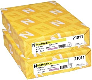 """Neenah Astrobrights Color Paper, 8.5"""" x 11"""", 24 lb/89 gsm, Lift-Off Lemon, Sold as 2 Reams, 21011"""