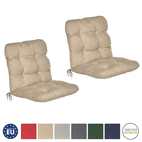 Beautissu Flair NL - Set de 2 Cojines para sillas de balcón o Asientos Exteriores con Respaldo bajo - 100x50x8 cm - Natural