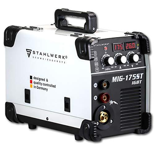 STAHLWERK MIG 175 ST IGBT - Saldatrice a gas MIG MAG con 175 Ampere, filo di riempimento FLUX, con MMA E-Hand, bianco, 7 anni di garanzia del produttore