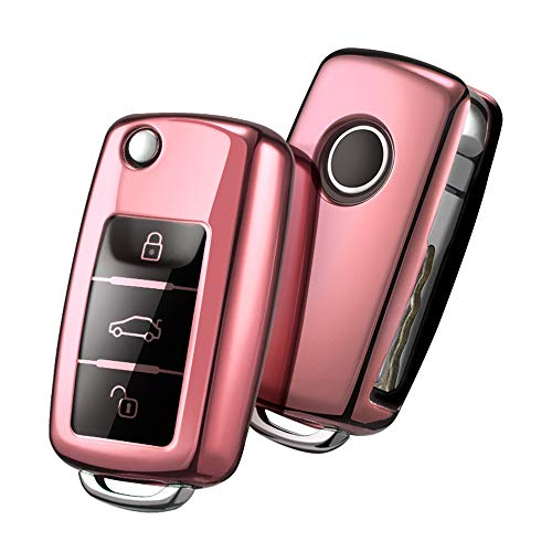 OATSBASF Autoschlüssel Hülle VW,VW Golf Schlüsselbox,Schlüsselhülle Cover für VW Polo Passat Skoda Seat 3-Tasten (Roségold)
